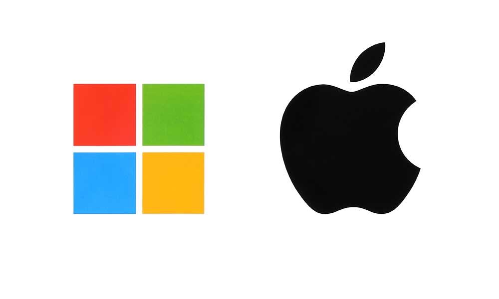 Mac vs. PC - Apple & Microsoft Logos